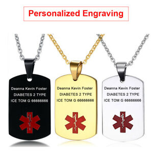 Personalized Engraving Necklace Medical Alert ID Dog Tag Pendant Stainless Steel