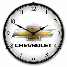 NEW CHEVROLET BOWTIE RETRO ADVERTISING BACKLIT LIGHTED CLOCK - FREE SHIP*