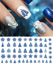 Holiday Christmas Nail Art Waterslide Decals Blue Set #3 - Salon Quality!