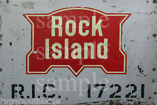 WEATHERED ROCK ISLAND RAILROAD METAL BUILDING DIORAMA LAYOUT SIGN 3x2