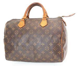 Authentic LOUIS VUITTON Speedy 30 Monogram Boston Handbag Purse #37587
