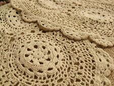 "PAIR(2)~Vintage Hand Crochet doily Doilies Snowflake Ecru Oval 14"" L~TOP QUALITY"