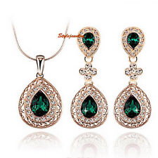 Teardrop Green Emerald Made with Swarovski Crystal Wedding Bridal Set XS32