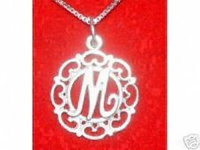 LOOK New Real Sterling Silver Pendant Charm Initial Letter Fancy M Elegant Jewel