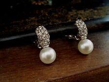 Vintage Jewellery 10mm Pearl & Crystal Encrusted Clip-on Earrings Rhodium plated