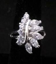 18K Platinum Zircon Leaf Crystal Ring Size 8 ~Ships FREE to US R250