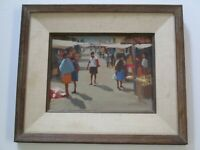 GEORGE GEMANIS OIL PAINTING ORIGINAL MEXICAN STREET SCENE IMPRESSIONIST 12""