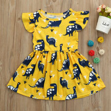 Toddler Kid Baby Girls Short Sleeve Dinosaur Print Party Dress Outfits Clothes 2years