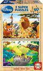 Puzzle pour enfants 2 x 50 Pièces - Disney: Amis des animaux (en bois) de Educa