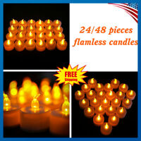 24/48 PCS Flameless Votive Candles Battery Operated Flickering LED Tea Light