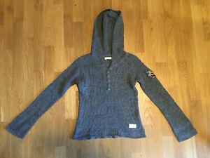 ODD MOLLY Strick-Pullover mit Kapuze Gr. 2 / 38 grau