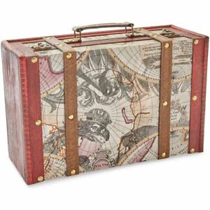 Wooden Treasure Chest Box for Storage, Map Pattern (12.5 x 7.8 x 4.3 In)