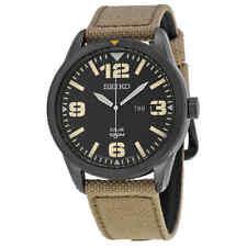 Seiko Solar Black Dial Beige Nylon Men's Watch SNE331