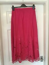 "Cerise Pink Ladies Skirt, Sz-10/12  L-38"" W-26/36"" L-34"" Pull- on"