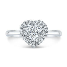 14k White Gold Diamond Heart Ring Round Cluster Cocktail Womens Size 7 Love