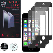 3 Films Verre Trempe Protecteur Protection NOIR pour Apple iPhone 5/ 5S/ SE