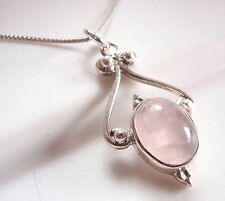 Rose Quartz Pendant Exquisitely Accented 925 Sterling Silver Oval New d38-8