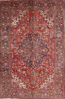 One-of-a-Kind Geometric Heriz Oriental HandKnotted 7'x10' Red/Pink Wool Area Rug