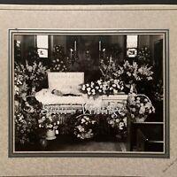 Vintage Post Mortem Photograph Casket/Flowers/Gentleman