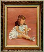 """M.JANE DOYLE SIGNED ORIG.ART OIL/CANV PAINTING """"LIT' LEST ANGEL""""(PORTRAIT)FRAMED"""