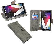 LG V20 // Brieftasche Zubehör vertikal seitliche Tasche Hülle Anthrazit + Folie