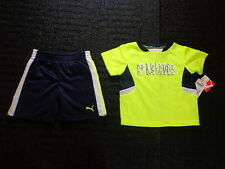 NWT Baby Boy Size 24 Month Puma Navy Blue Shorts Neon Green Shirt Short Sleeved