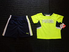 NWT Baby Boy Size 12 Month Puma Navy Blue Shorts Neon Green Shirt
