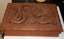 OLD WOODEN CARVED FLOATING RED STONE EYES DRAGON JEWELRY STORAGE BOX NO KEY