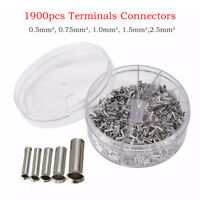 1900Pc Uninsulated Butt Wire Connector Crimp Terminals AWG 22-14 Kit 0.5-2.5mm²
