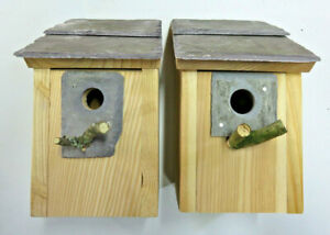 Bird house nesting box Welsh slate, 25 or 32 mm hole with protection plate