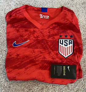 Mens Size Large Nike USA Soccer Away Jersey Red AJ4355-689
