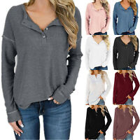 Womens Long Sleeve Henley Neck T-shirt Tops Loose Knitted Jumper Fall Tee Shirts