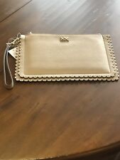 c706768af157 NWT Michael Kors Medium Scallop Leather Zip Wristlet Clutch - Tan - MSRP  $118