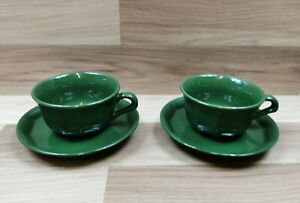 2 x Heavy Chunky Large Green Coffee Cups And Saucers