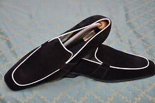 Pal Zileri Sartoriale mens Black suede moccasin loafer shoes size 45