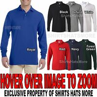 Mens LONG SLEEVE Polo Jerzees Poly/Cotton with SPOTSHIELD S, M, L, XL, 2XL NEW!