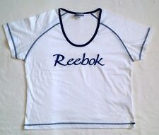 REEBOK WHITE WITH BLACK TRIM STRETCH COTTON MIX V NECK SHORT SLEEVE T SHIRT 16