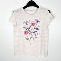 Gap Kids Girls Short Sleeve Floral Shirt Ivory Cream Size Large 10