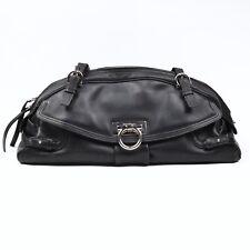 Salvatore Ferragamo Handtasche Purse Leder Leather Schwarz Black Made in Italy