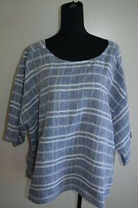 Sara beautiful 100% linen top/ shirt...blue& white check...size 24...excellent