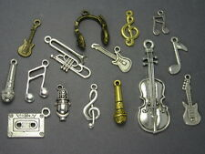 12 Music Charms Mixed Assorted Musican Set Horn, Trumpet, Guitar, Cassette, Note
