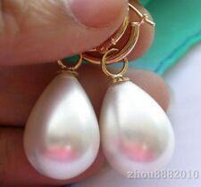 reizend 12 * 16mm weiße Meer Shell Perle Hochzeit Partei Schmuck Ohrringe