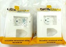 Lot of (2) DATACOMM 45-0021-WH 2-Gang Recessed TV Cable Plate with Power Outlet
