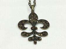 Fleur de Lis Brown Crystal Rhinestone Bling Gold Tone Necklace Who Dat F20