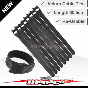 16X Re-usable Nylon Cable Ties Hook Loop Strap Tidy Organiser Tie