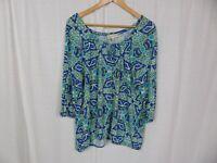 Jones New York Sport Women's Printed 3/4 Sleeve Shirt Blue Green Viscose Sz 2XL