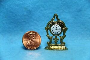 Dollhouse Miniature Metal Gold Tone Mantle Clock IM65419