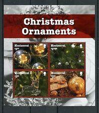 Montserrat 2016 MNH Christmas Ornaments 4v M/S Decorations Baubles Stamps