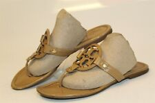 Tory Burch USED Miller Womens 7 M Patent Leather Thongs Sandals Flats Shoes