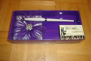 His & Hers Studio: GUEST PEN With Rhinestones, Purple Feathers WHITE Base  NEW